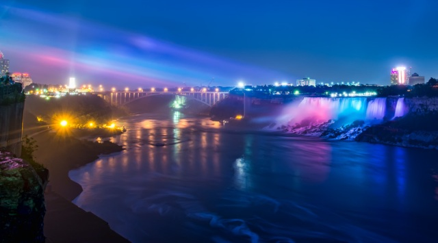 It is amazing how they light up Niagara falls at night. The main falls are behind me but it is nice how they light up the smaller falls across the river on the American side.